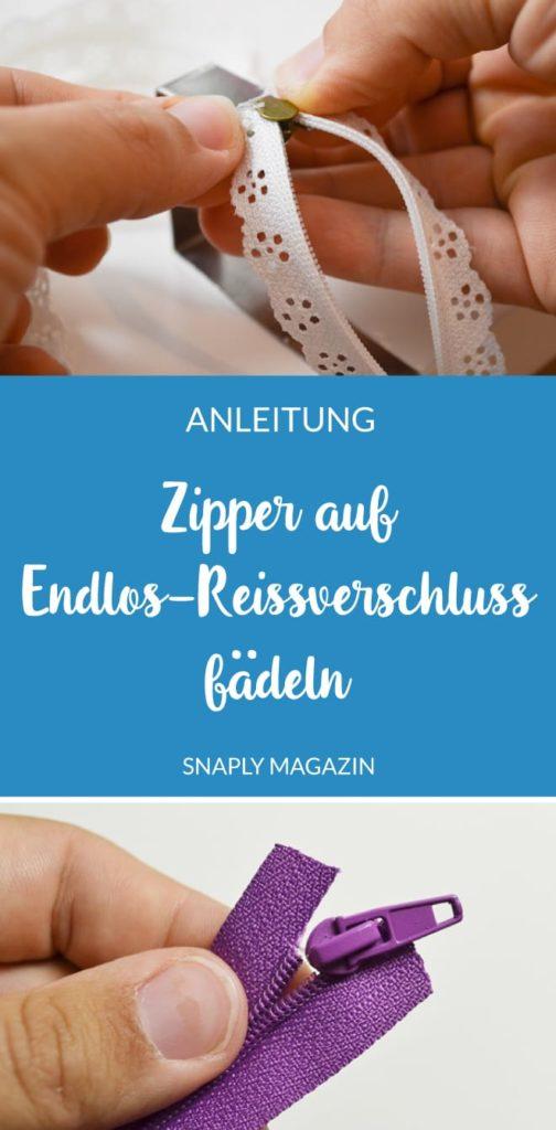 Anleitung: Zipper auf Endlos-Reißverschluss auffädeln