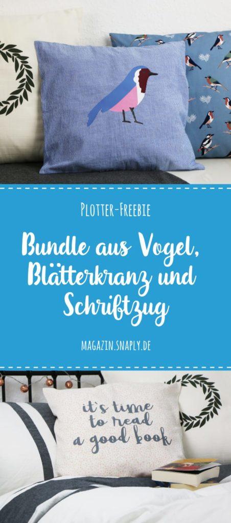Plotter-Freebie: Bundle aus Vogel, Blätterkranz und Schriftzug